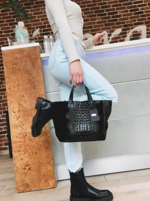 Leder Handtasche schwarz neu