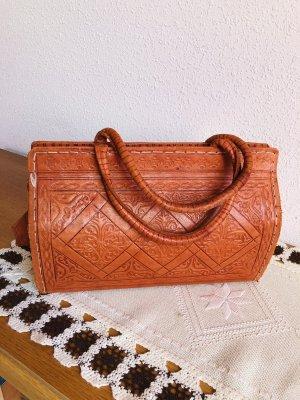 Leder Handtasche Tasche Rostrot 32x21x12 cm