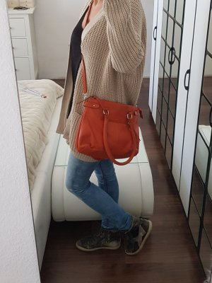 Leder Handtasche Umhängetasche Echtleder Orange