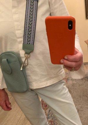 Börse in Pelle Mobile Phone Case pale blue-mint leather