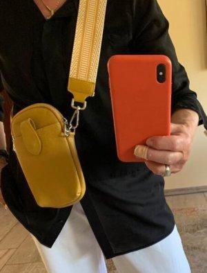 Börse in Pelle Étui pour téléphone portable jaune foncé cuir
