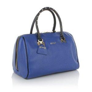Leder Henkel Tasche von LIU JO Bauletto M, Selene Blu Board / Nero, blau - schwarz