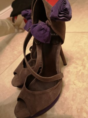 Peep Toe Pumps grijs-bruin-paars Leer
