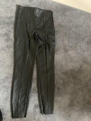Zara Leren broek zwart