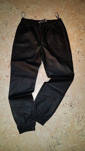 Mandarin Pantalón de cuero negro
