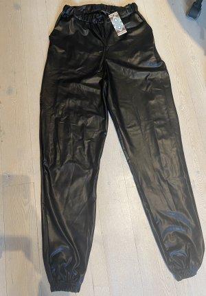 Bohoo Pantalon en cuir noir
