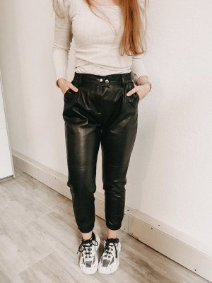 Bershka Leather Trousers black