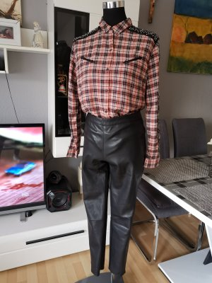 Vila Pantalón de cuero negro