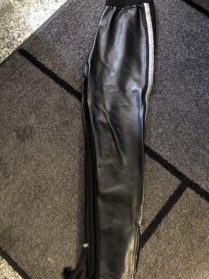 0039 Italy Leather Trousers black-silver-colored