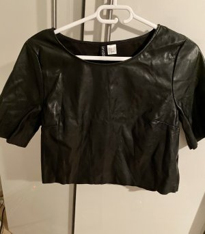 H&M Divided Leather Blouse black