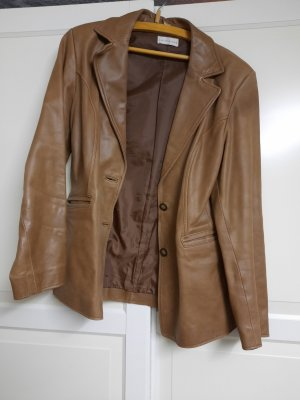 A. D. Collection Veste en cuir beige