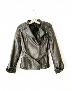 leder jacke • guess • vegan leather • schlammfarben • taube