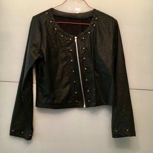 Leder Jacke kurz schwarz