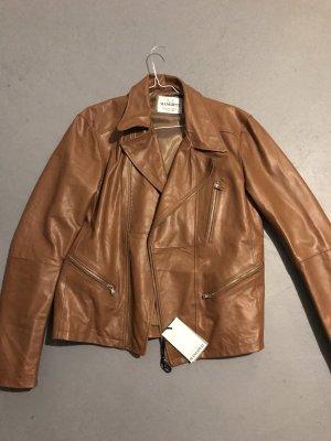 Abrigo de cuero color bronce-marrón