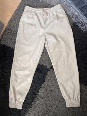 Zara Pantalone in pelle beige chiaro-crema