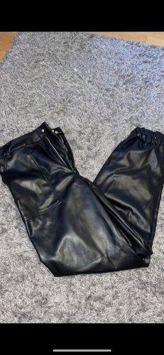 H&M Skórzane spodnie czarny