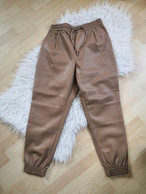 Zara Pantalon en cuir beige