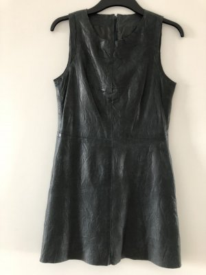Cigno Nero Leather Dress petrol-slate-gray leather