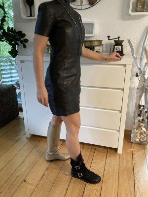 erogance Vestido de cuero negro