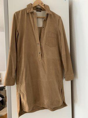 Set Skórzana sukienka jasnobrązowy-beżowy