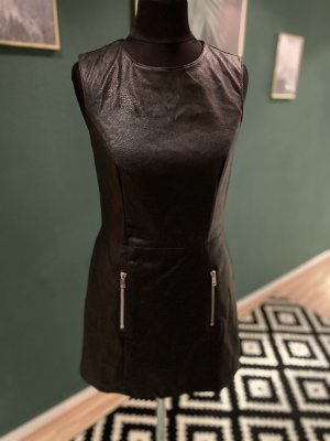 Amisu Leather Dress black-silver-colored