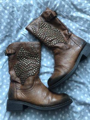 Botas estilo vaquero marrón-color bronce