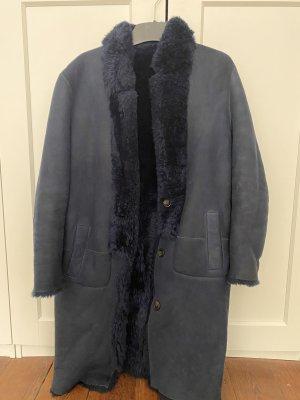 Closed Manteau en cuir bleu foncé