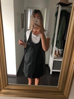 Primark Vestido de cuero negro-color plata Imitación de cuero