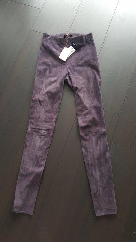 Marc Cain Skórzane spodnie fiolet-ciemnoniebieski