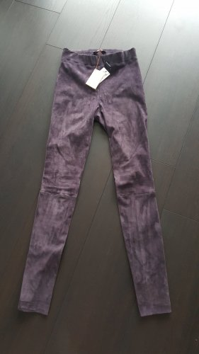 Marc Cain Leather Trousers dark violet leather