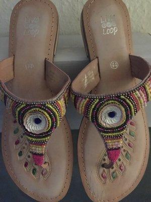 Liva Loop High-Heeled Toe-Post Sandals pink