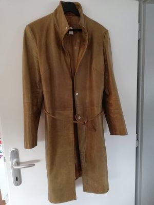 Abrigo de cuero marrón arena-ocre Cuero