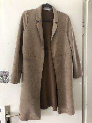 Zara Skórzany płaszcz beżowy-camel