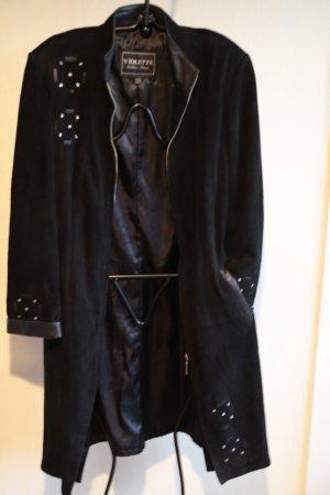 Violeta Manteau en cuir noir cuir