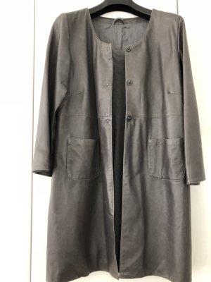 Leder Mantel in grau