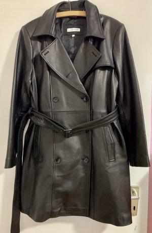 Calvin Klein Skórzany płaszcz czarny