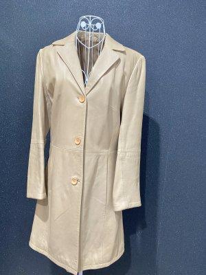 Leder Mantel Trenchcoat beige Gr S/M