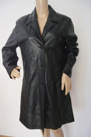 Leather Coat black-black brown leather