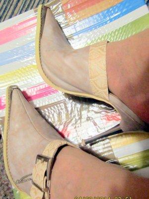 Leder-MegaHighHeel-Mules/Pantoletten*ROCHRS*10,5cm-taupe-Metallabsatz-Gr36-neu