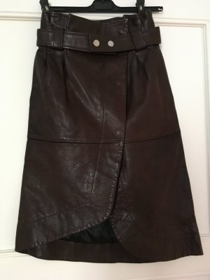 Ganni Leather Skirt black brown leather