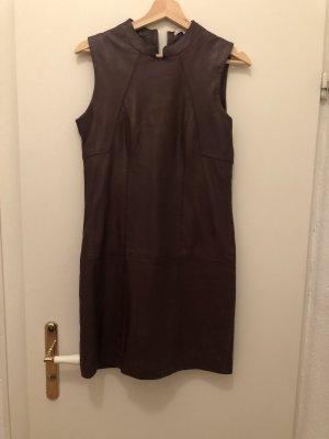 Leather Dress brown red
