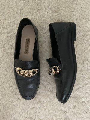 Zara Basic Mocasines negro-color oro Cuero