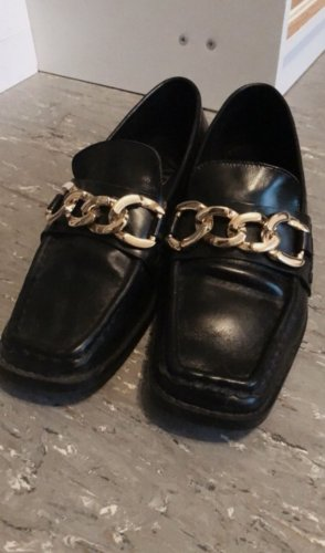 Zara Pantofel czarny-złoto