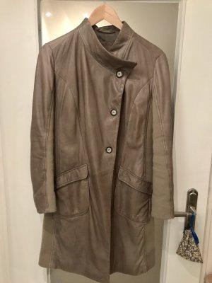 0039 Italy Skórzany płaszcz Wielokolorowy