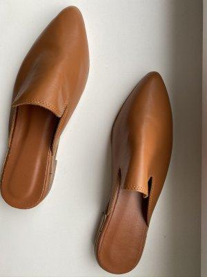 Mule à talon marron clair-chameau cuir