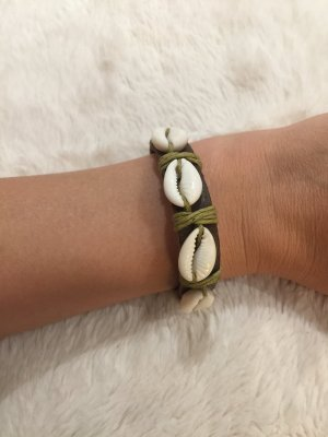 Bracelet en cuir crème-brun cuir