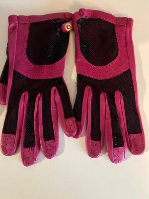 Roeckl Leren handschoenen zwart-roze