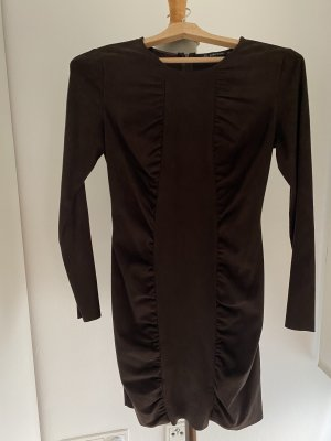 zara basie Leather Dress dark brown