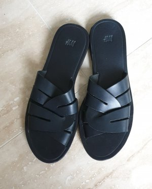 H&M Sandalo comodo nero Pelle