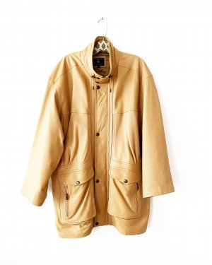 Vintage Leather Coat camel-beige